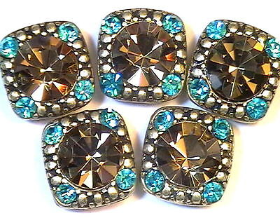 5 - 2 HOLE SLIDER BEADS 8mm SMOKY TOPAZ & 2mm ZIRCON BLUE CRYSTALS IN GOLD