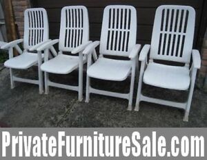 Set of 4 Patio Folding Reclining Chairs with few adjustable back
