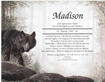 * BLACK WOLF Personalized Name Meaning Print