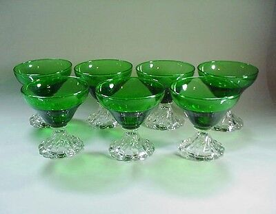 7 Anchor Hocking Forest Green Boopie Sherbets / Champagne Glasses -- NICE!