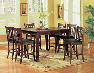 Solid wood pub table with 6 chairs and free lazy suzan