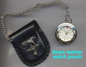 Black leather pocket watch belt pouch with metal latch and chain