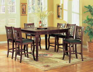 Solid wood pub table with 6 chairs + lazy suzan $699
