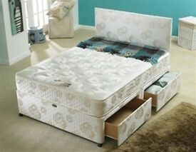 BRAND NEW SMALL DOUBLE OR DOUBLE DIVAN BED SET WITH MATTRESS, DRAWERS AND HEADBOARD