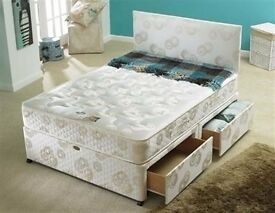 BRAND NEW TOP QUALITY DOUBLE DIVAN BED WITH 9INCH THICK DEEP QUILTED MATTRESS- FREE DELIVERY