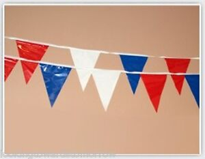 Red White Blue Pennant String 100 Feet 48 Triangle FLAGS 12X18