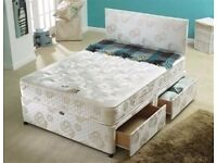 SMALL DOUBLE 4FT | DOUBLE 4FT 6 | KINGSIZE 5FT | BROWN FAUX DIVAN BED, QUILTED MATTRESS + STORAGE
