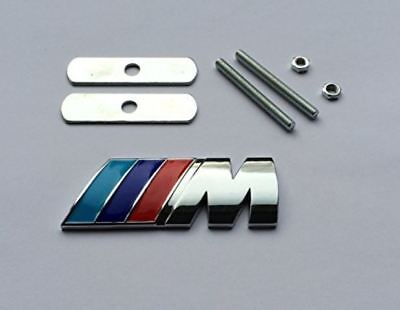 New 3D Metal Grill Boot SET M Tech Power Sport Badge Emblem for BMW - Silver