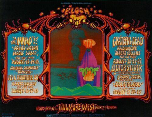 The WHO GRATEFUL DEAD Fillmore West 1968 Concert Poster