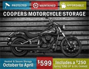 Heated winter storage Oct-April with free spring service!