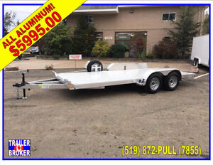 Brand New 2018 All Aluminum Car Hauler, Hideaway Ramps 17'.