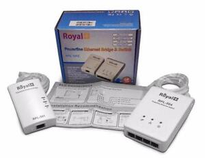 RoyalPlus Power Line Ethernet Wireless Bridge Network Adapter up to 500 MBps and up to 4 Devices connected to one bridge