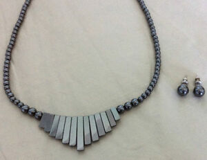 Hematite Gemstone Necklace and Earring Set