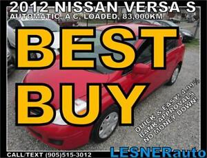 2012 NISSAN VERSA S -AUTO LOADED 83,KM- SUPER LOW KMS!