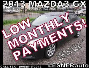 $3000 DOWN, $153 for 60 months! SALE$9480 -2013 MAZDA3 GX