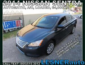 2014 NISSAN SENTRA SV -AUTO A/C LOADED 64,KM- NO-ACCIDENTS
