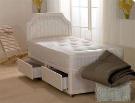 ❤70% OFF❤ NEW Divan Base in Black, White & Cream❤ Single Bed w Mattress, Headboard &Drawers Optional