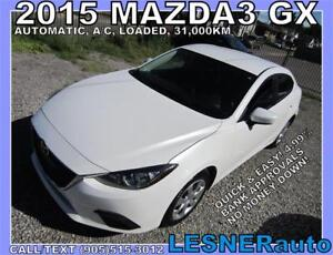 2015 MAZDA3 GX -AUTO LOADED BLUETOOTH 31,KM- NO-ACCIDENTS