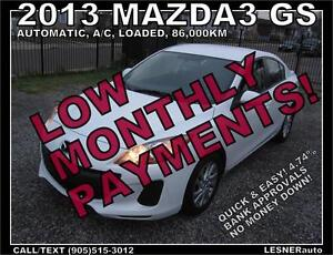 $3000 DOWN, $165 for 60 months! SALE$10588 -2013 MAZDA3 GS
