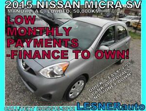 $3000 DOWN, $106 for 60 months! PRICE$7880 ---2015 NISSAN MICRA