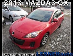 2013 MAZDA3 GX -AUTO A/C LOADED 82,000KM- NO ACCIDENTS!