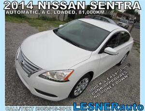 2014 NISSAN SENTRA S -AUTO LOADED 83,KM -NO-ACCIDENTS!