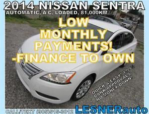 $3000 DOWN, $160 for 60 months! PRICE$9988 -2014 NISSAN SENTRA