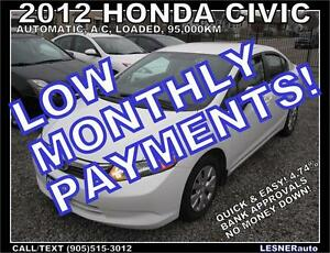 $3000 DOWN, $164 for 60 months! SALE$10688 -2012 HONDA CIVIC LX