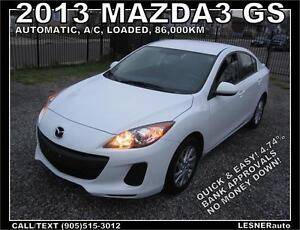 2013 MAZDA3 GS -AUTO A/C LOADED BLUE-TOOTH- 86KM- LESNERdirect