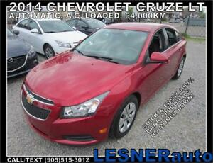 2014 CHEVROLET CRUZE LT -AUTO LOADED 64,KM- FACTORY WARRANTY!