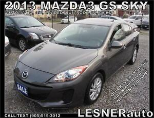 2013 MAZDA3 GS SKY -SUN ROOF AUTO LOADED 82,KM  -NO ACCIDENTS!