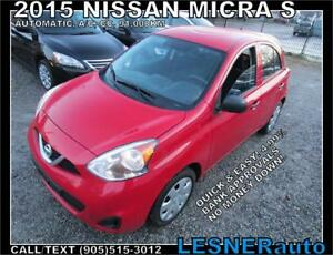 2015 NISSAN MICRA S -AUTOMATIC A/C- WARRANTY & NO-ACCIDENTS!