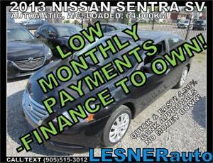 $3000 DOWN, $155 for 60 months! PRICE$10488 -2013 NISSAN SENTRA