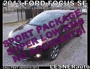 2013 FORD FOCUS SE -SPORT PACKAGE! -AUTO 61,KM -NO ACCIDENTS!