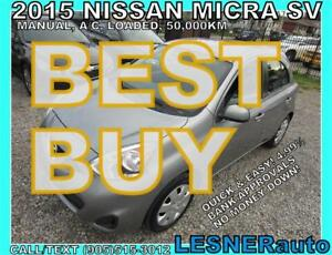 2015 NISSAN MICRA SV- 5SPD & A/C-$106 for 60months & $3000down!