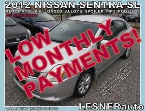 $3000 DOWN, $110 for 60 months! SALE$7688 -2012 NISSAN SENTRA SL