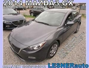 2014 MAZDA3 GX -AUTO LOADED 87,KM- $3000 Down $177 For 60Months!