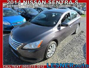 2014 NISSAN SENTRA S -AUTO A/C LOADED 65,KM- NO-ACCIDENTS!