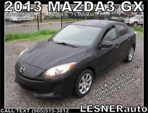 2013 MAZDA3 GX -AUTO A/C LOADED- 75,000KM -FACTORY WARRANTY!