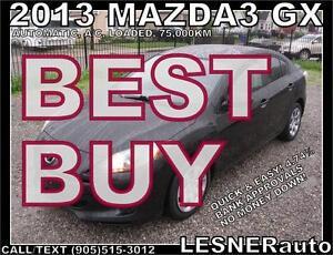 2013 MAZDA3 GX -AUTO A/C LOADED- 75,000KM -NO ACCIDENTS!