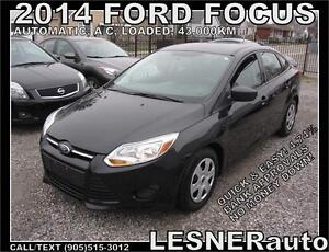 2014 FORD FOCUS S -AUTO LOADED SEDAN- 43,KM- NO ACCIDENTS!