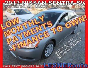 $3000 DOWN, $154 for 60 months! PRICE$9488  -2013 NISSAN SENTRA