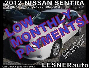 $3000 DOWN, $130 for 60 months! SALE$8280 -2012 NISSAN SENTRA