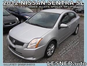 2012 NISSAN SENTRA SL -AUTO, LOADED, ALLOYS, SPOLIER- LESNERAUTO
