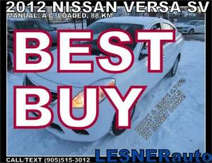 2012 NISSAN VERSA SV -SEDAN MANUAL A/C LOADED 88,KM- NO ACCIDENT