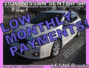 $3000 DOWN, $135 for 60 months! SALE$8988 -2012 NISSAN SENTRA SR
