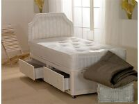 ** __ SINGLE DIVAN BED BASE + DEEP QUILTED MATTRESS __ ** BRAND NEW - SAME DAY DELIVERY -