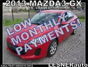 $3000 DOWN, $149 for 60 months! SALE$9488 -2013 MAZDA3 GX