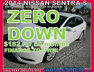 -ZERO DOWN,$182 for 60 months FINANCE TO OWN!-2014 NISSAN SENTRA