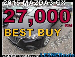 2015 MAZDA3 GX -AUTO LOADED BLUETOOTH 27,KM- NO-ACCIDENTS